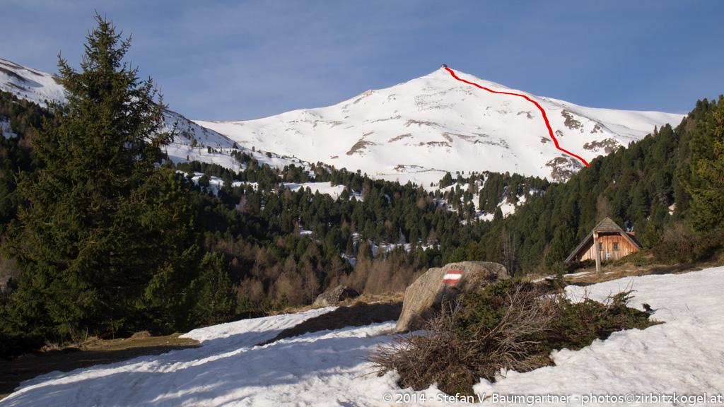 Skiabfahrt (rot markiert)  über den Zirbitzkogel-Nordosthang
