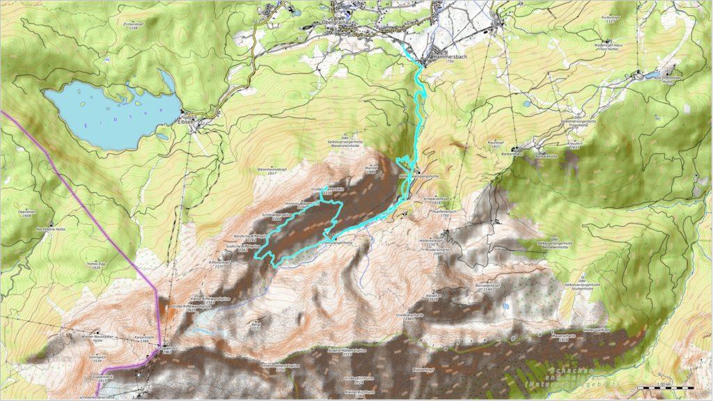 OSM Topo Map mit zurückgelegter Route (blau)