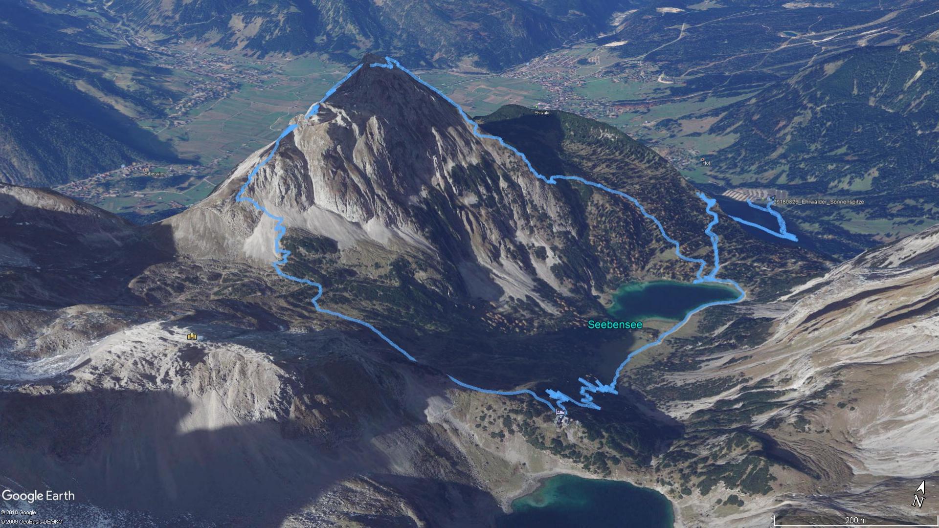 Google Earth Bild mit zurückgelegter Route (hellblau)