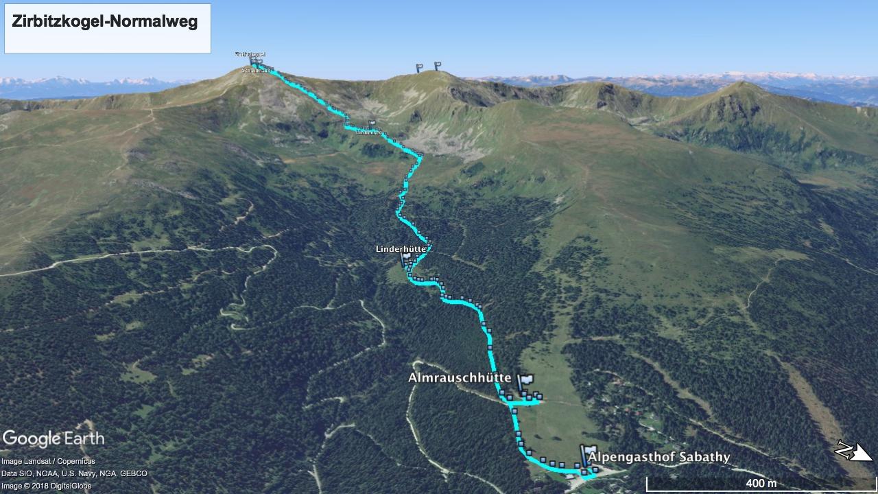 Zirbitzkogel-Normalweg - geplanter Track (Cyan) und Wegpunkte visualisiert mit Google Earth