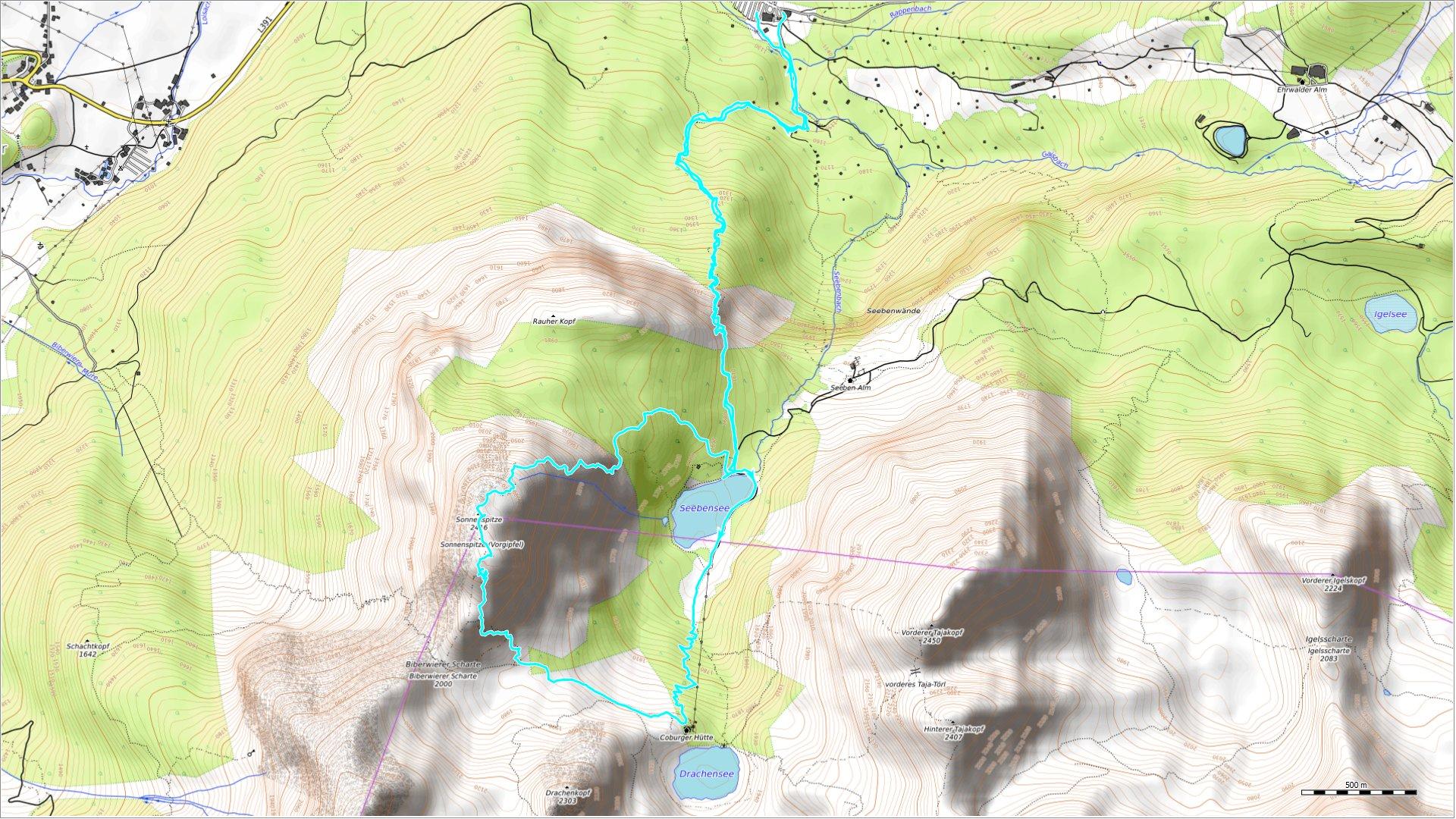 OSM Topo Map mit zurückgelegter Route (hellblau)