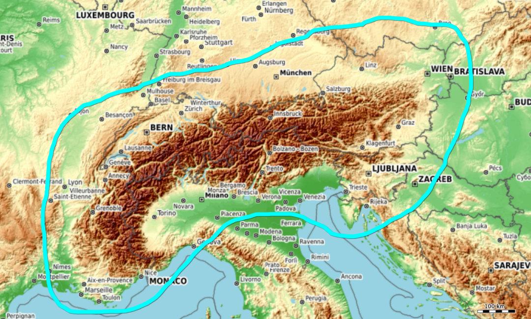 """Gebiet, das in etwa von der """"Freizeitkarte Region Alpen"""" abgedeckt wird"""