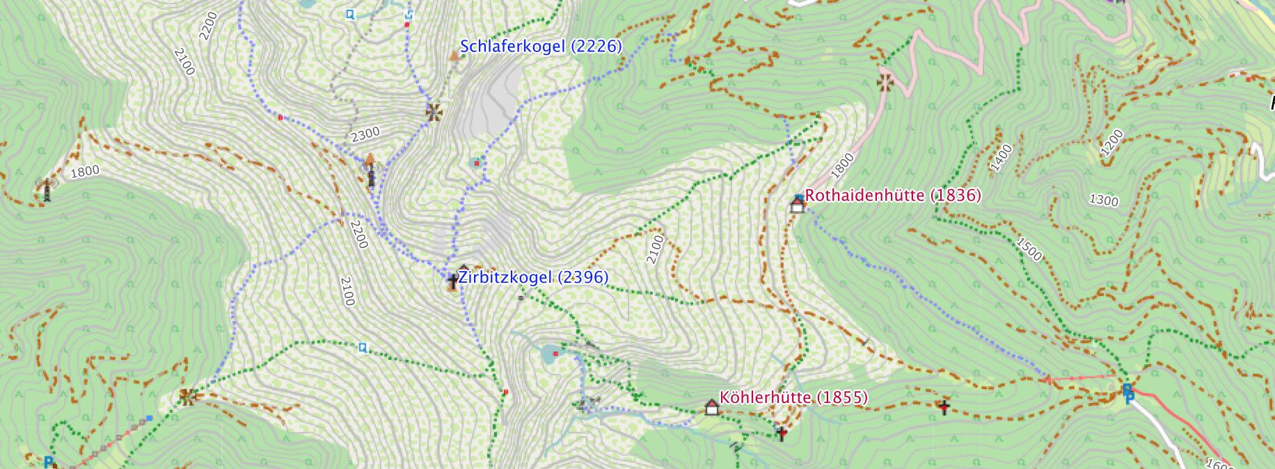 Freizeitkarte - Kartenausschnitt Zirbitzkogel
