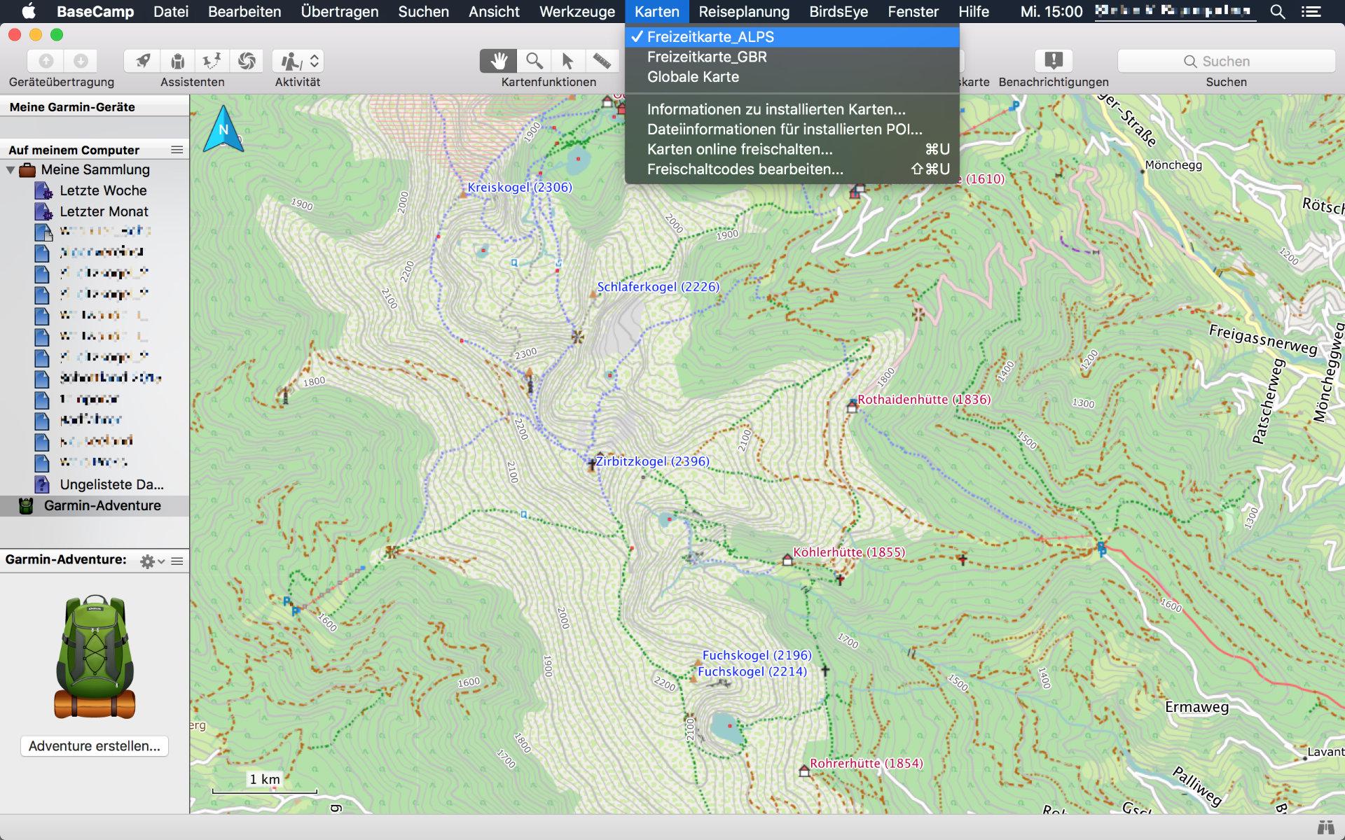 Screenshot von Garmin BaseCamp mit ausgewählter Freizeitkarte der Alpenregion
