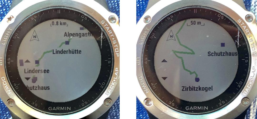Geplante Tour über den Zirbitzkogel-Normalweg auf der Garmin fenix 3 in unterschiedlichen Zoom-Stufen