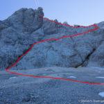 Im Österreichischen Schneekar kurz vor dem Einstieg in den Stopselziehersteig (die rote Linie zeigt den ungefähren Verlauf der Route)