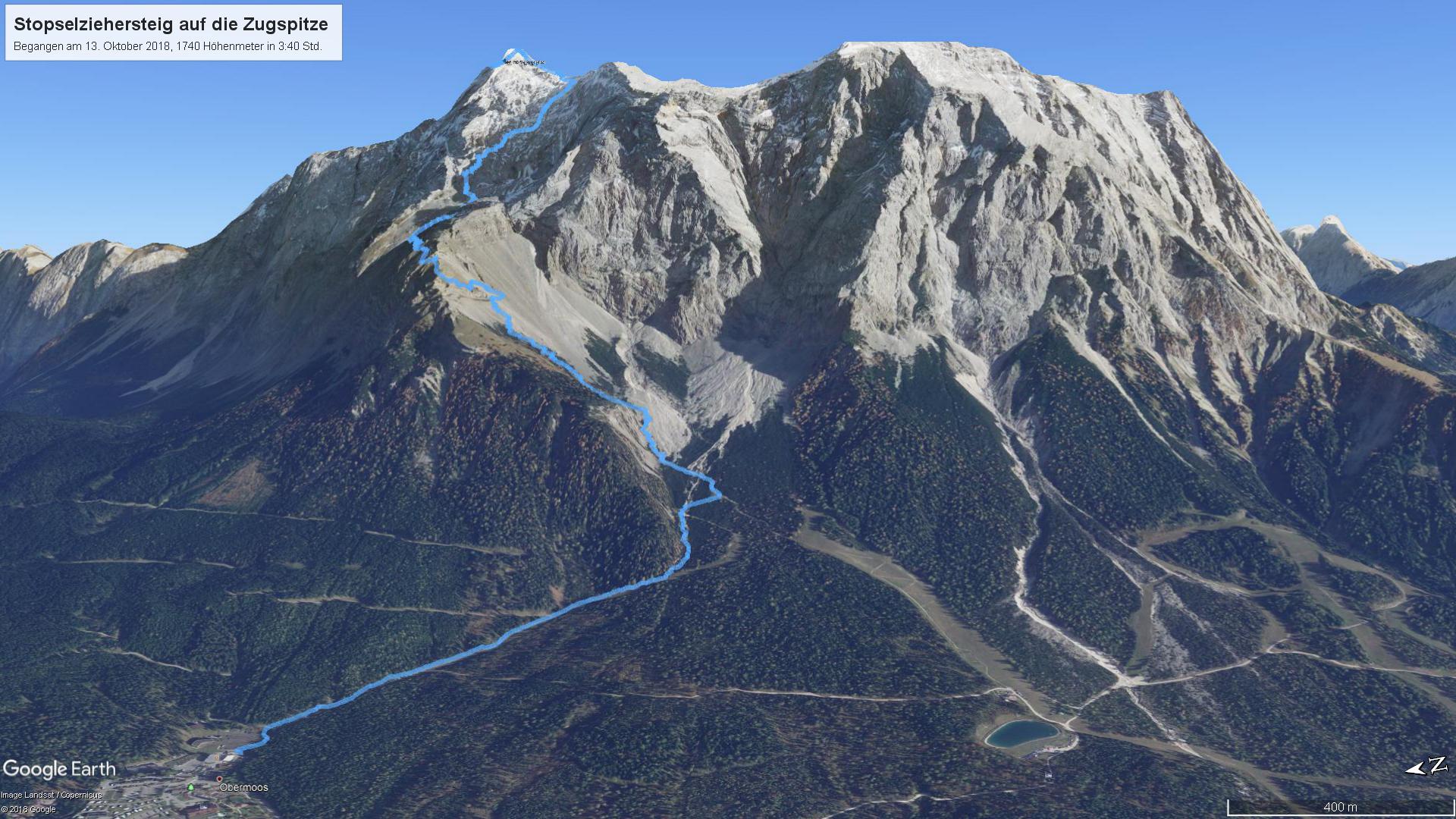 Meine Aufstiegsroute auf die Zugspitze (hellblau), visualisiert in Google Earth