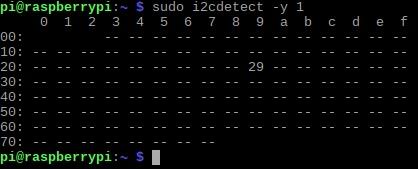Bash-Ausgabe i2cdetect -y 1
