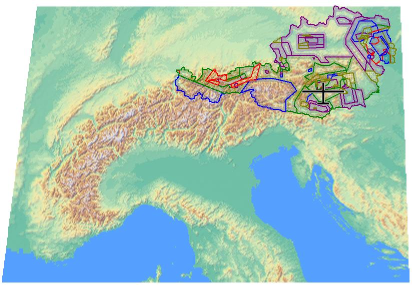 Abdeckung der Kartendatei ALPS_Altair.xcm. Zusätzlich ist der österreichische Luftraum visualisiert.