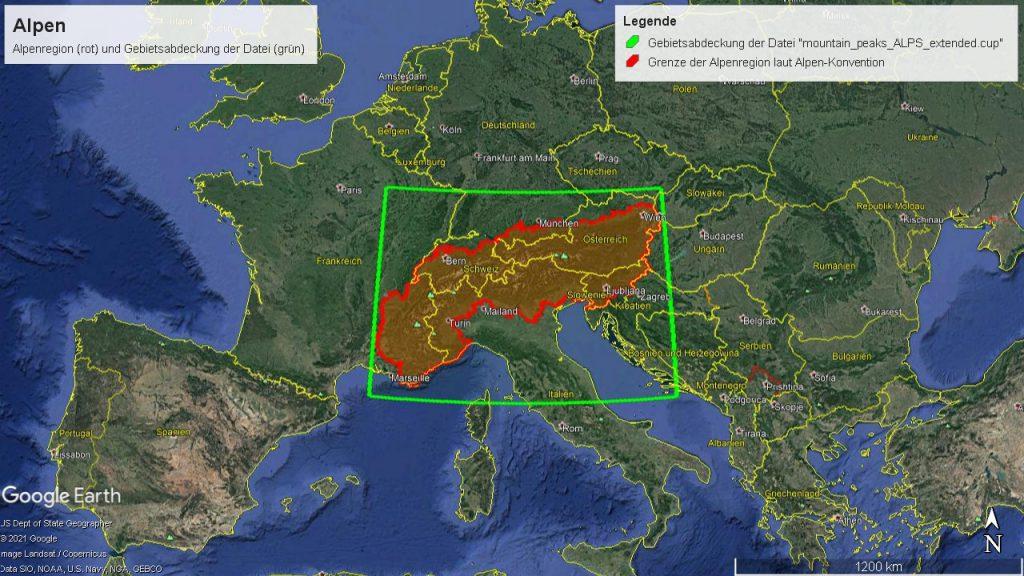 Abdeckungsgebiet der Datei mountain_peaks_ALPS_extended.cup, dargestellt mit Google Earth.